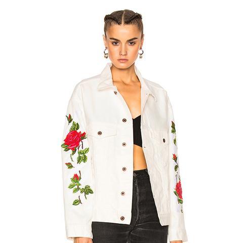 Diagonal Roses Denim Jacket