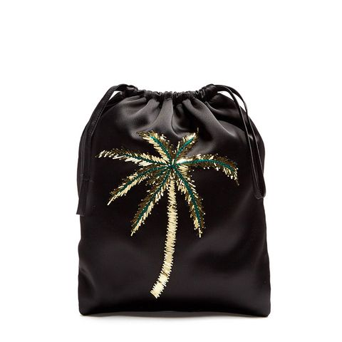 Sofia Palm Tree-Embroidered Satin Pouch