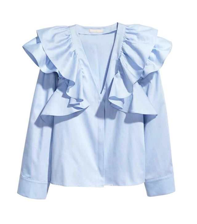 how to shop H&M: Ruffled shirt