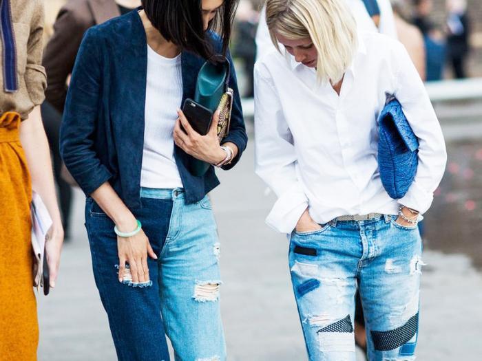 Eva Chen wearing jeans street style