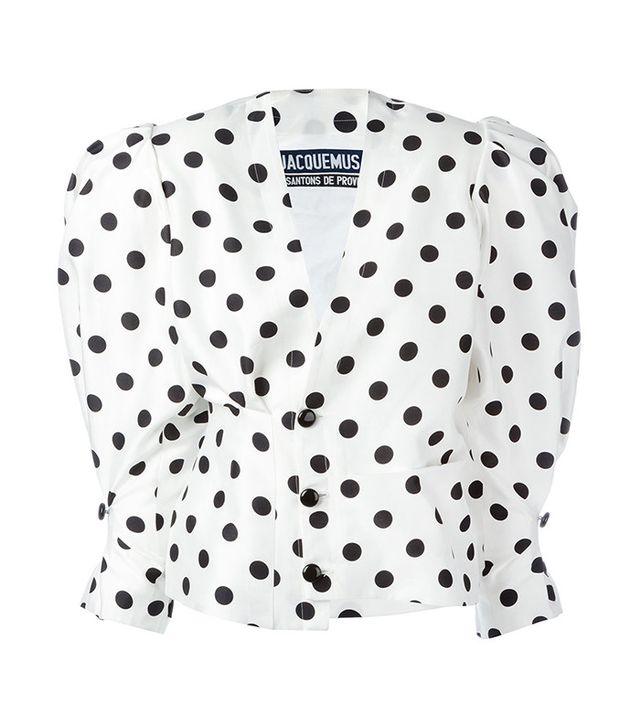 how to wear ankle boots with jeans - Jacquemus Polka Dot Puff Shoulder Blouse