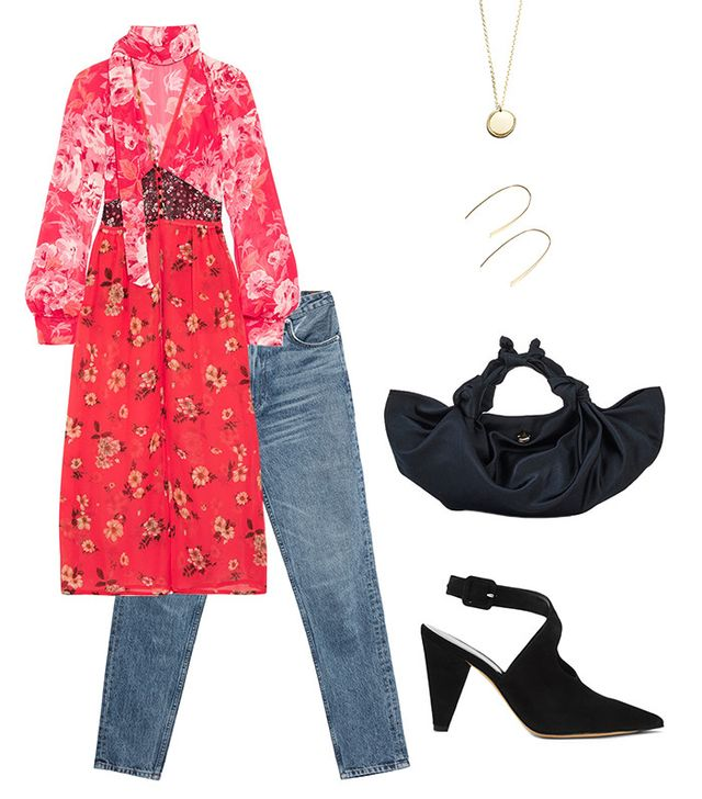 Shop the Outfit: Derek Lam Ana Pump ($795); Reformation High Cigarette Jeans ($128); Attico Beatriz Floral Dress ($1485); The Row Ascot Bag ($990); & Other Stories Semi-Hoop Earrings ($19); &...