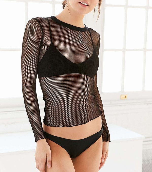 how to wear a sheer top - Urban Outfitters Out From Under Fishnet Top