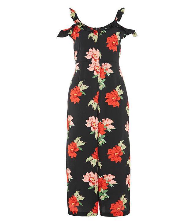 Miranda Kerr Topshop jumpsuit- Topshop Floral Frill Jumpsuit