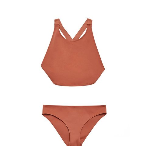 High Round-Neck Bikini Top and High-Cut Bottoms