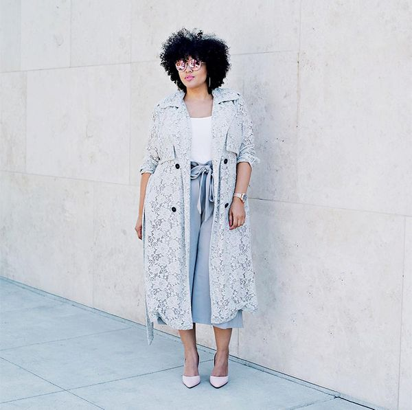 what to wear with culottes - lace trench coat