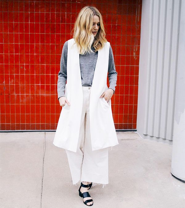 what to wear with culottes - all white outfit