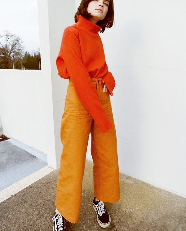 what to wear with culottes - monochromatic outfit