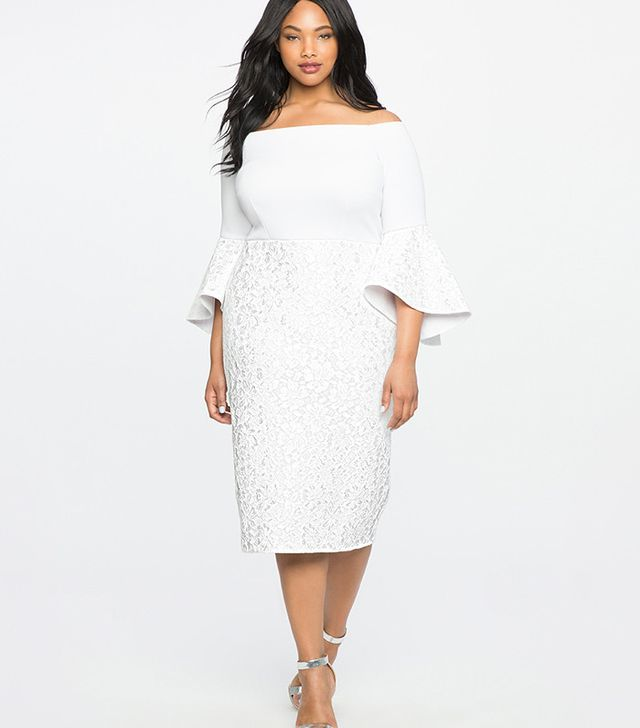 best plus size wedding dresses - Eloquii Lace Ruffle Sleeve Off the Shoulder Dress