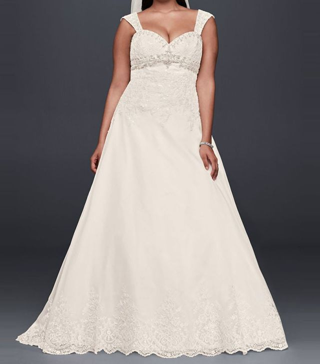 best plus size wedding dresses - David's Bridal Plus Size Wedding Dress with Removable Straps