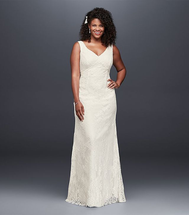 David's Bridal V-Neck Wedding Dress