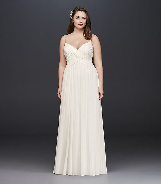 David's Bridal Ruched Bodice Chiffon Dress