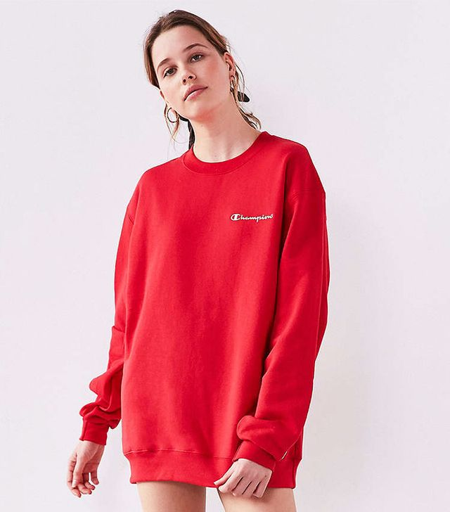 champion red crewneck sweatshirt