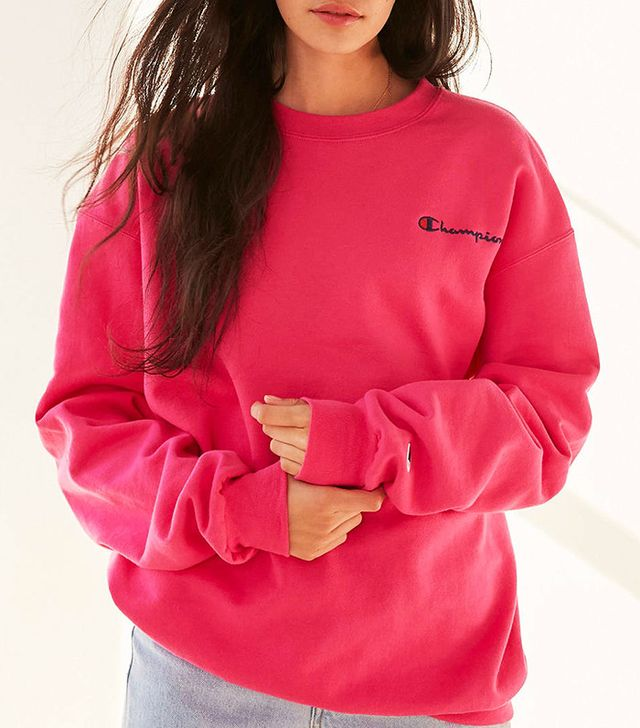 champion pink crewneck sweatshirt