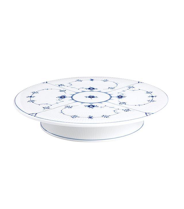 Blue Fluted Plain Cake Platter