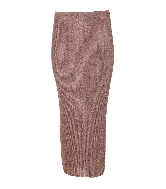 Tibi Metallic Ribbed Shift Skirt