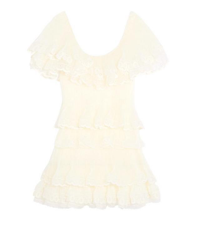 Chloé Tiered Plissé Silk-Organza Mini Dress