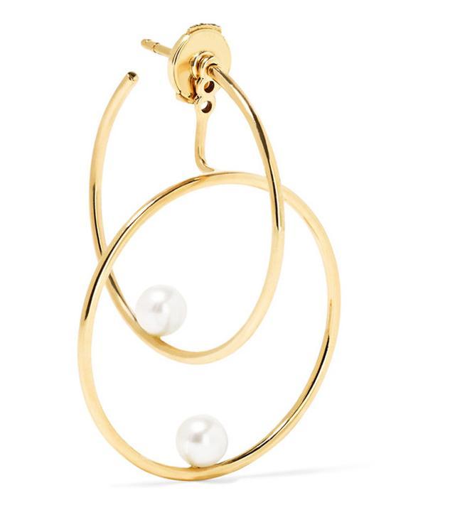 Anissa Kermiche 14-karat Gold Pearl Hoop Earring