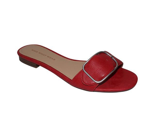 best red slide sandals