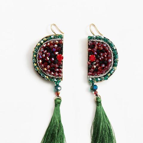 Watermelon Tassel Earrings
