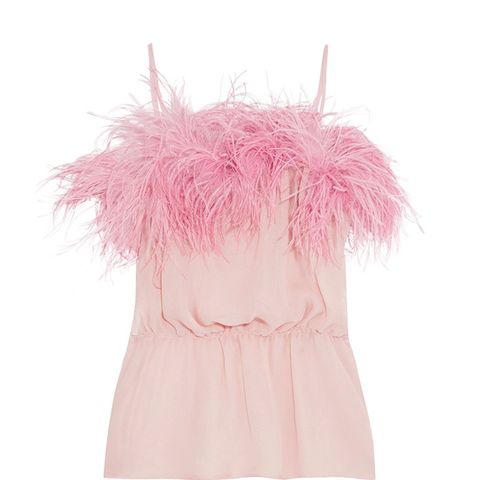 Feather-Trimed Crinkled Silk-Chiffon Camisole