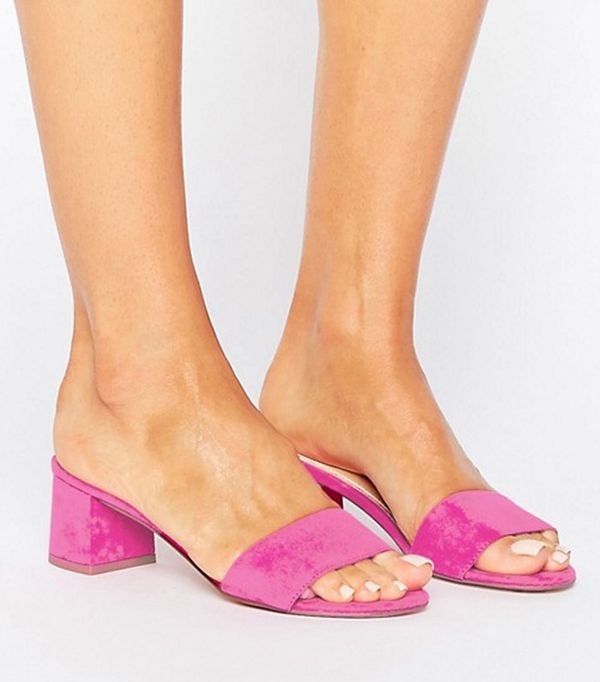 river island pink mules