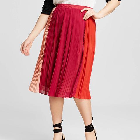 Plus Size Colorblocked Pleated Midi Skirt