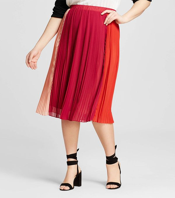 who what wear Plus Size Colorblocked Pleated Midi Skirt