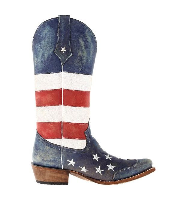 dresses to wear with cowboy boots - Roper American Flag Snip Toe Red/White/Blue