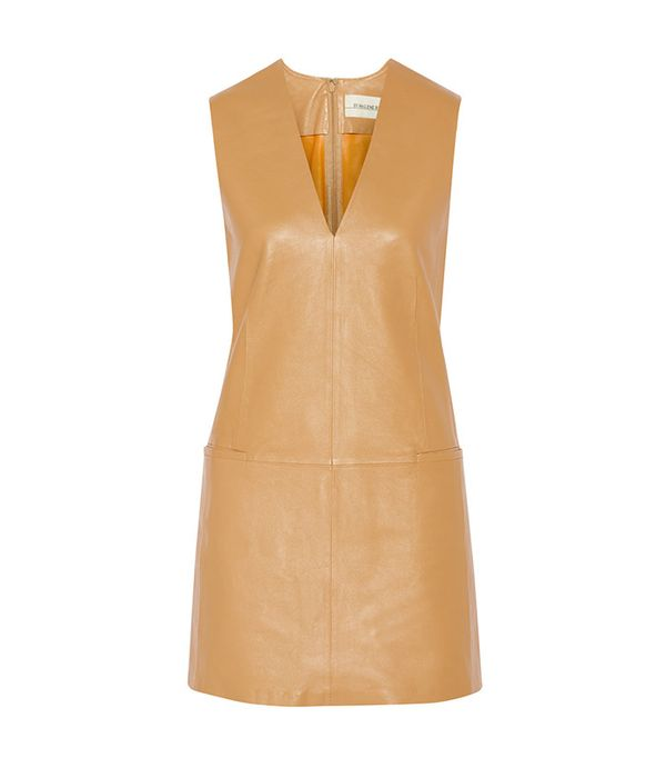 dresses to wear with cowboy boots - By Malene Birger Gade Leather Mini Leather Dress