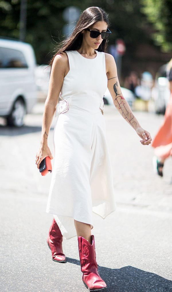 dresses to wear with cowboy boots - Gilda Ambrodio white dress red cowboy boots