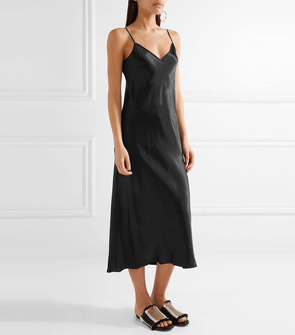 dress with cowboy boots - Vince satin midi dress