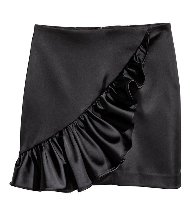 H&M Ruffled Satin Skirt