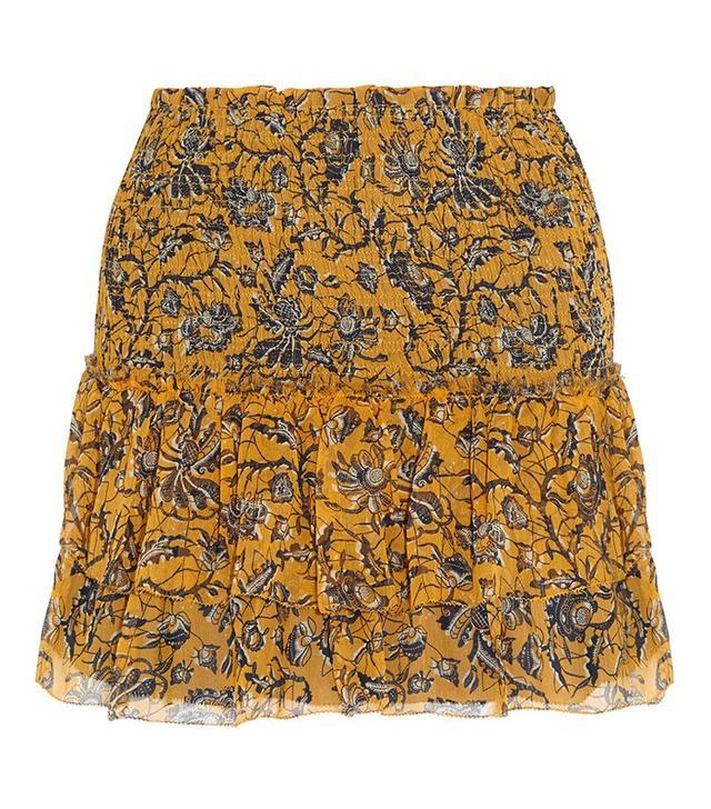 Étoile Isabel Marant Brinley Smocked Printed Silk-Georgette Mini Skirt