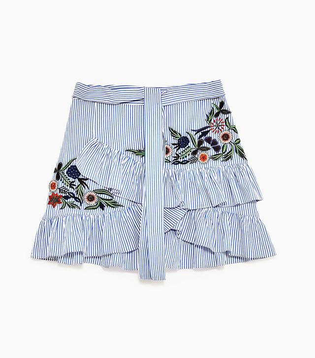 Zara Striped Embroidered Mini Skirt