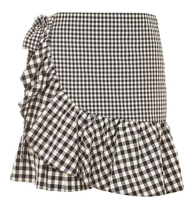 Topshop Gingham Frill Wrap Mini Skirt