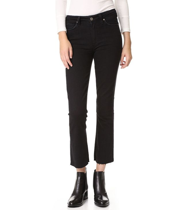 best cropped black jeans: Paige Collette Crop Flare Jeans