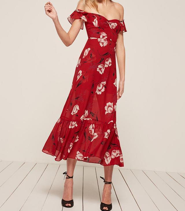 best red dress- reformation tropica dress