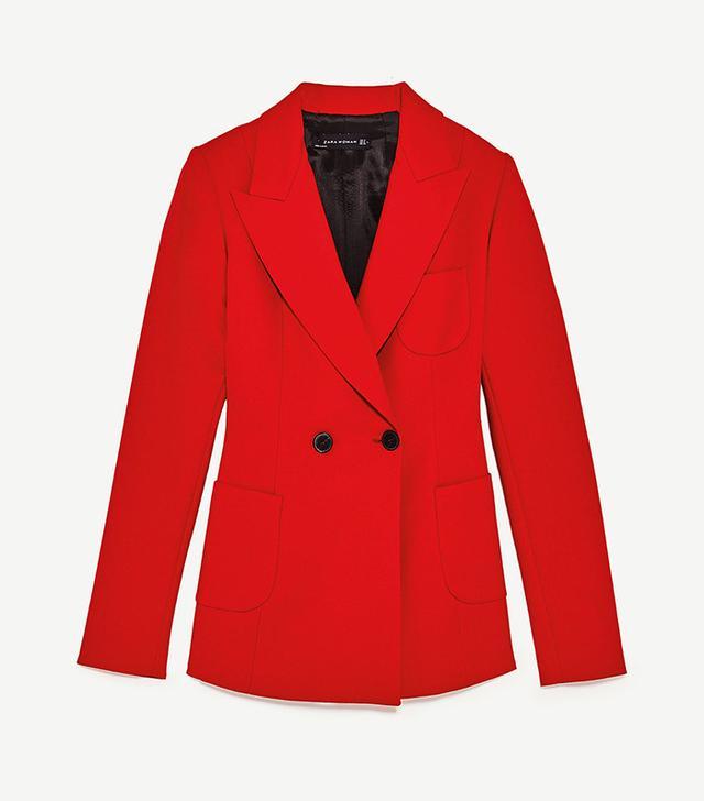 best red blazer- Zara Tailored Jacket With Buttons