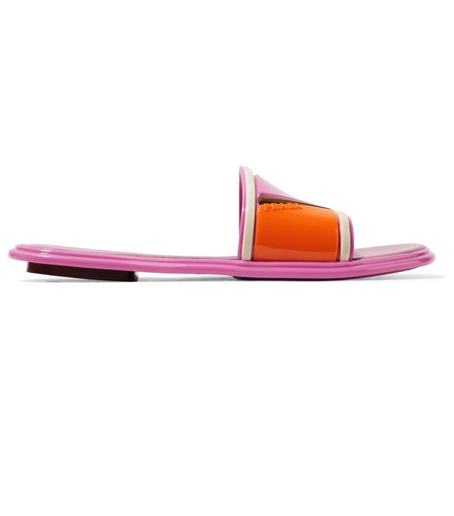Prada Color-Block Rubber and Leather Slides
