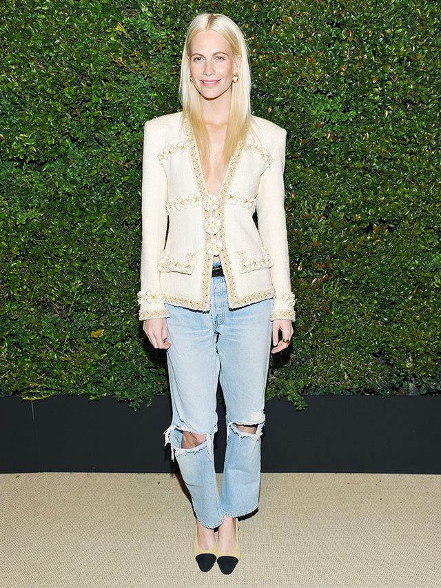 On Poppy Delevingne: Chanel jacket and shoes.