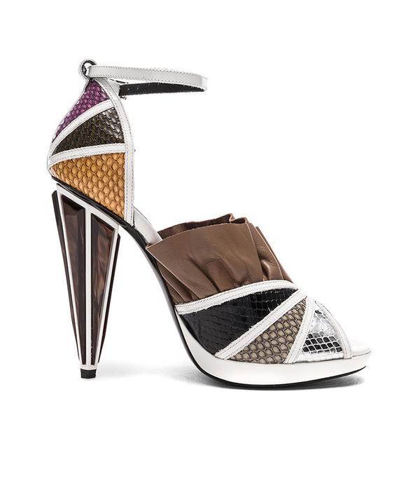 how to wear a sheer top - Rodarte Embossed Metallic Leather Strap Heels