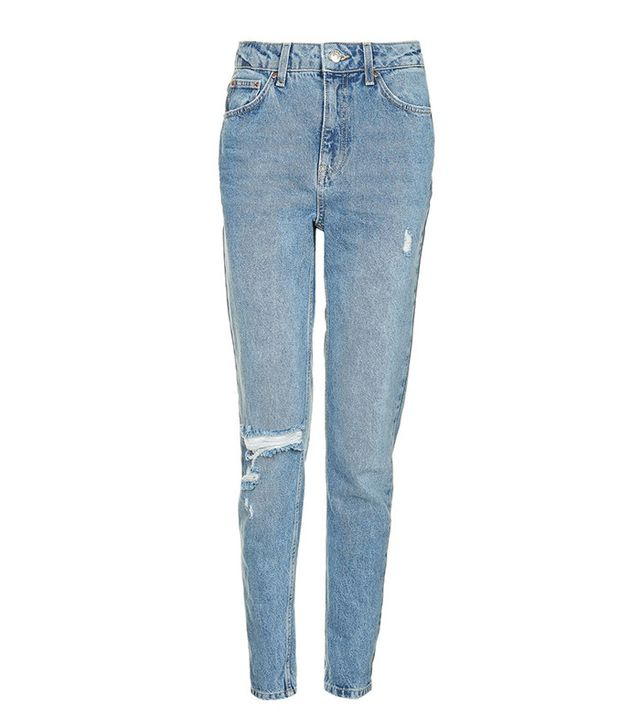 Topshop Mid Blue Ripped Mom Jeans