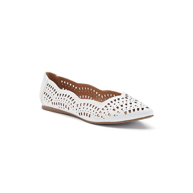 Candie's Laser-Cut Pointed-Toe Flats