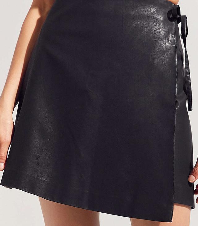 Silence + Noise Vegan Leather Asymmetrical Mini Wrap Skirt
