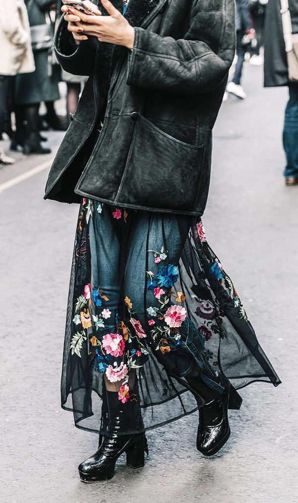 easy styling trick - tulle floral embroidered dress