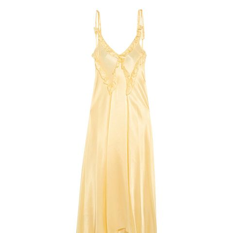 Marisa Ruffled Silk-Satin Maxi Dress
