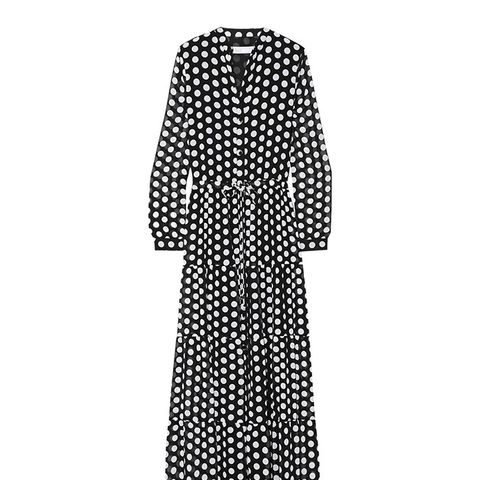 Tiered Polka-Dot Georgette Maxi Dress
