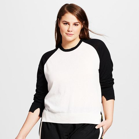 Plus Size High Slit Crew Sweater
