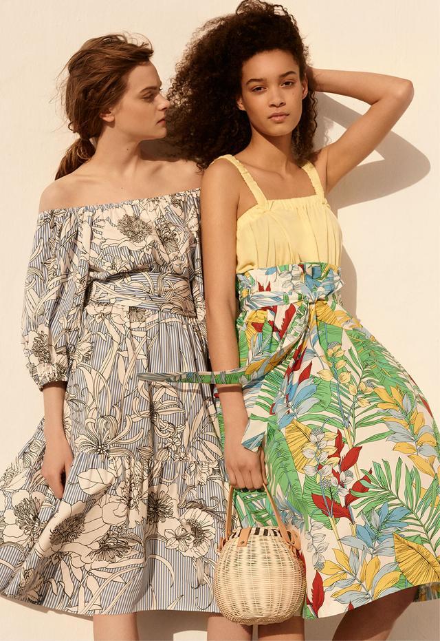 Zara Midi Tunic With Stripes and Flowers Print
